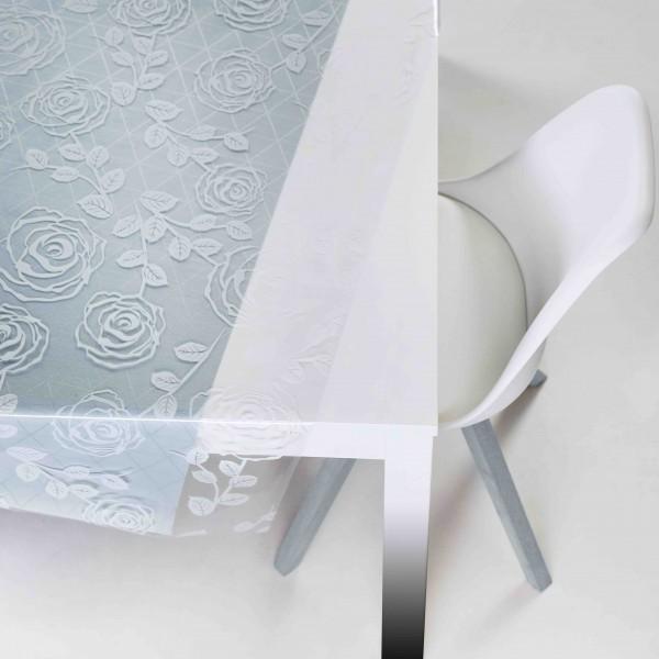 Tischbelag Vida Kristall Floral white Meterware 140 cm x 30 m