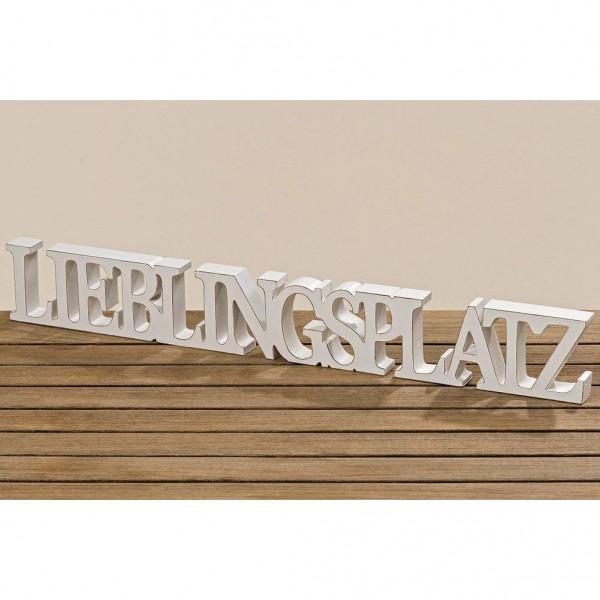 Deko Aufsteller Lieblingsplatz, 8 x 60 x 2,8 cm, Holz weiß