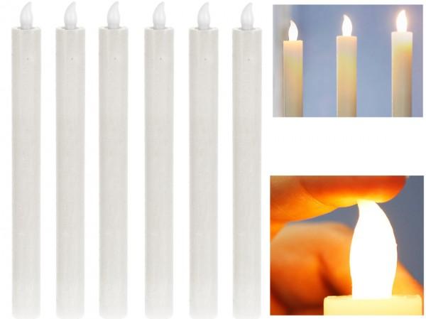 LED Tafelkerzen Stabkerzen Echtwachs in weiß LED warmweiß 25cm