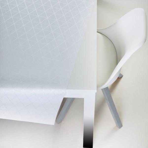 Tischbelag VidaTex Royal Triangel weiß Meterware 140 cm x 15 m