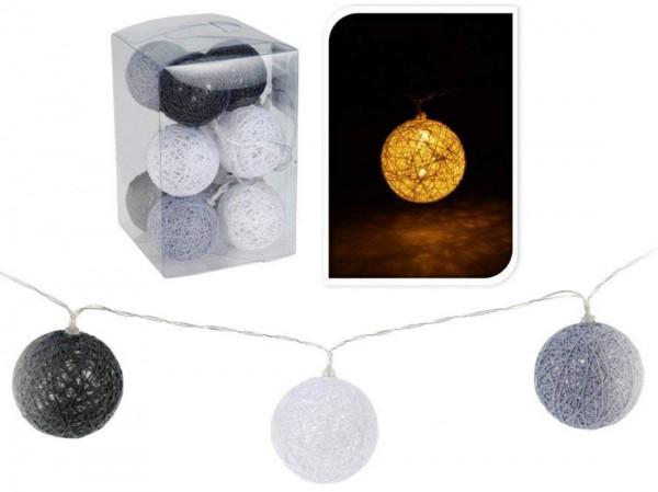 LED Lichterkette 10 Raphia Kugeln Lampions 6 cm, Länge 180 cm, grau-weiß-schwarz