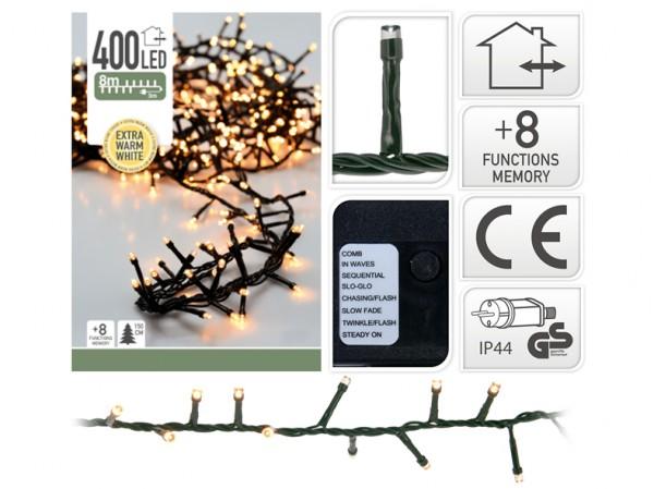 Cluster Lichterkette 400 LED warmweiß für Innen & Außen 8 m Länge 8 Funktionen