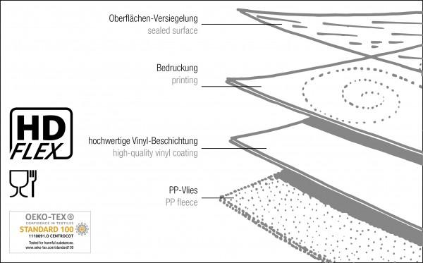 Tischbelag Vida Style Season grey Meterware 140 cm x 20 m
