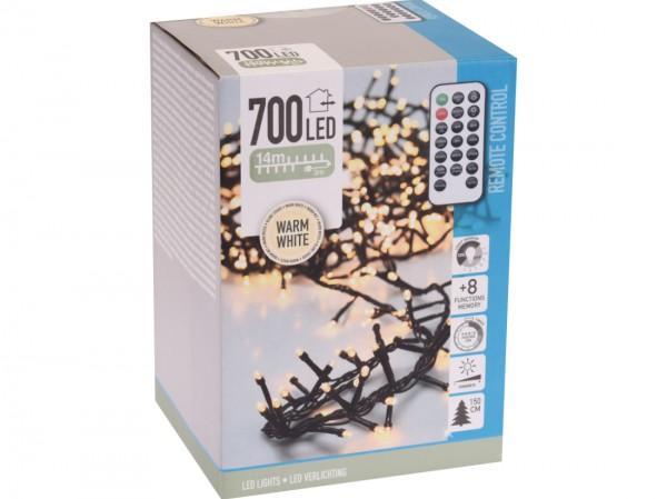 Lichterkette 700 LED, warmweiß, f. Innen u. Außen, 8 Funktionen, m. Fernbedienung