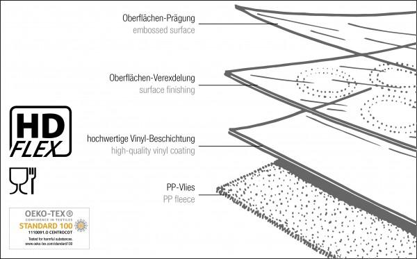 Tischbelag Vida Pearl anthracite Meterware 140 cm x 15 m
